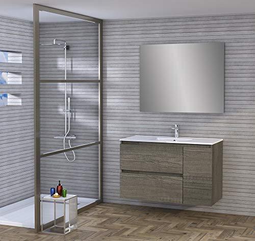 Baikal 830134050 Conjunto de Mueble de Baño con Lavabo y Espejo, Suspendido a la Pared, Dos Cajones y Una Puerta, Melamina 16mm, Acabado en Roble Gris Nebraska, 120 x 65 x 46 cm