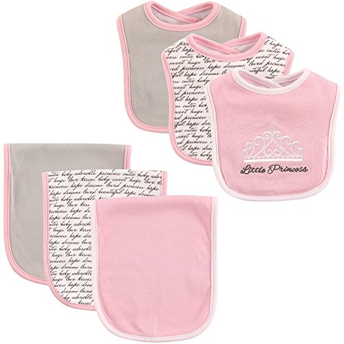 Hudson Baby 6-Piece Bib and Burp Cloth Set, Princess