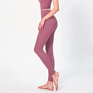 High Waist Hip Yoga Pants Female Solid Color Stretch Tight Sports Fitness Pants Comfortable Breathable,Pink(3XL)