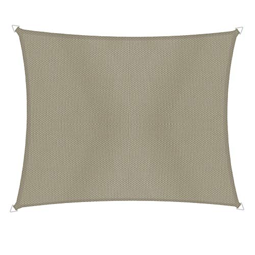 Windhager 10741 Voile d'ombrage rectangulaire 2 x 3 m Protection Solaire pour Jardin et terrasse, résistant aux UV et aux intempéries Taupe