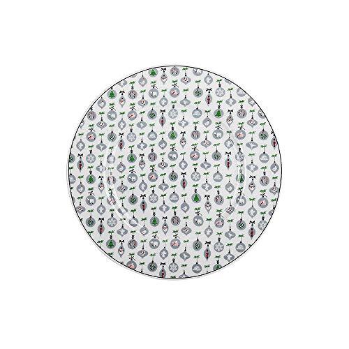 Krasilnikoff - Teller, Kuchenteller - Weihnachtsornamente - weiß, grau - Porzellan - Ø20,5 cm