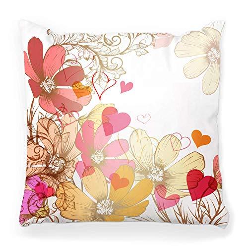 REAlCOOL Funda de almohada cuadrada suave de 45,7 x 45,7 cm, diseño de flores florales, estilo vintage y antiguo, telón de fondo artístico de pancarta de borde beige
