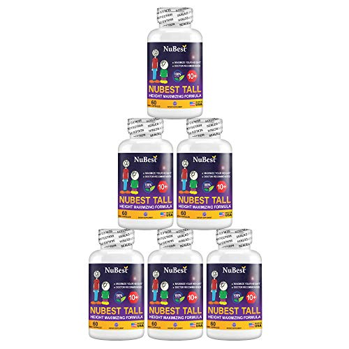 Maximum Natural Height Growth Formula - NuBest Tall 10+, Herbal Peak Height Pills, Grow Taller Supplements, 60 Capsules, Doctor Recommended, for People Who Drink Milk Daily (Pack of 6)