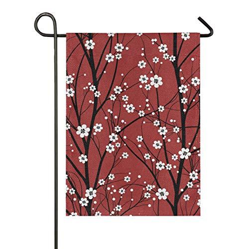 LZXO doppelseitige Premium Gartenflagge japanische Kirschblütenbaum Yard Decor Willkommen Garten Flaggen Outdoor Flaggen mehrfarbig, 28x40 in