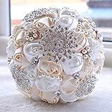 HUAYE Hochzeit-Holding-Perlen-Diamant-Blumen-Brautblumenstrauß Zubehör Bridesmaid Strass-Partei-Hochzeit Dekoration Zubehör, Durchmesser: 20 cm (Pink). (Color : Color1)