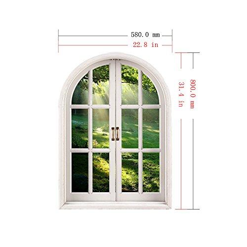 ZHFC- -3D Falsa Ventana Pared Dormitorio Sala de Estar Estudio Decoracion de Fondo se Puede Quitar sin Dejar Adhesivo Mural Pared 58 * 80cm
