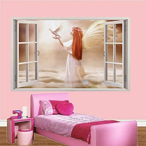 Wandtattoo ANGEL WINGS PIGEON AUF WOLKEN 3D WINDOW WALL STICKER ROOM DEKORATION DECAL MURAL-60x90cm