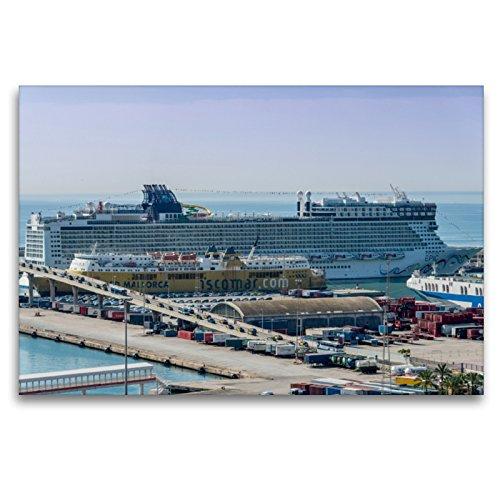 Calvendo Premium Lienzo 120 cm x 80 cm horizontal, aquí anclan los mayores barcos de pasajeros, cuadro sobre bastidor, listo para lienzo auténtico, lienzo, lugares