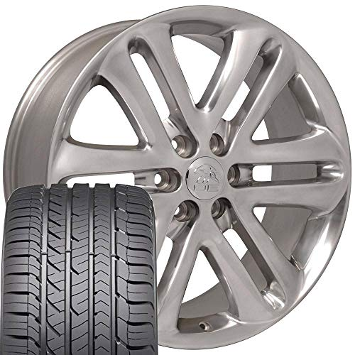 22x9 Wheels & Tires Fit Ford Trucks - F150 Style Polished Rims and Goodyear Tires, Hollander 3918 -...