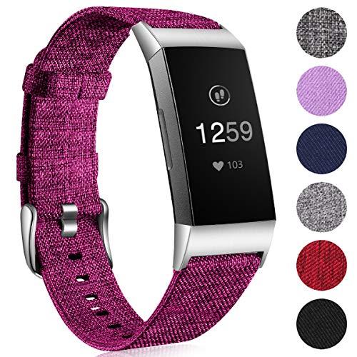 Ouwegaga Woven Armband Kompatibel mit Fitbit Charge 4 Armband/Fitbit Charge 3 Armband, Ersatzband Gewebte Stoff Armband Kompatibel mit Fitbit Charge 3/Charge 4, Klein Fuchsie