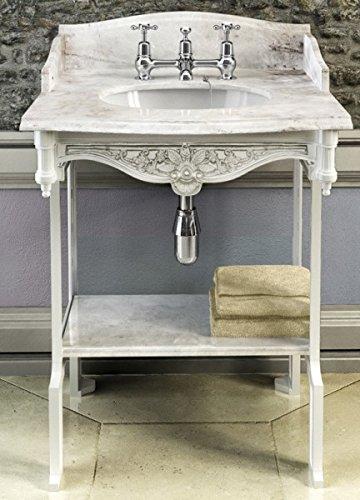 Casa Padrino Jugendstil Stand Waschtisch Weiß/Weiß mit Marmorplatte mit Spritzschutz hinten, seitlich und Ablage Barock Waschbecken Barockstil Antik Stil