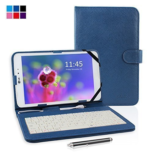 "Kamor 8"" PU Leather Stand Case + Micro USB Keyboard with Touch Screen Stylus Pen for Samsung / HP / Acer / ASUS / DELL / Lenovo / LG 8 inch Android Tablet PC + Micro Female to Mini Male adapter (Mystice Blue)"