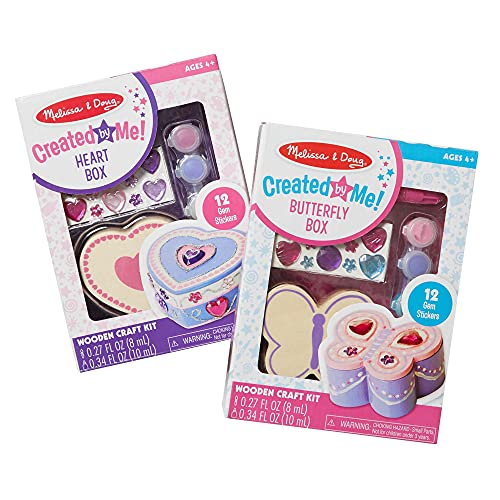 Melissa & Doug Decorate-Your-Own Wooden Heart Box and Wooden Butterfly Box Craft Kits Set