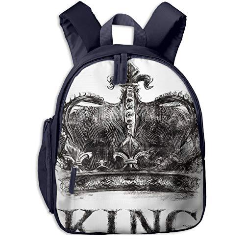Kinderrucksack Kleinkind Jungen Mädchen Kindergartentasche Rock King Crown Tee Backpack Schultasche Rucksack