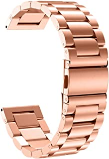 FunDiscount Band Compatible with Garmin Fenix 6 & Fenix 6Pro, Upgraded Stainless Steel Wristband Metal Buckle Clasp Strap Replacement Bracelet Compatible with Fenix 5 5 Plus 6 6Pro (Rose Gold)