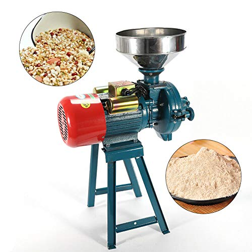 Grain Mills Electric Grain Mill Grinder, 3000W 110V Mill Grinder Electric Grain Grinder Heavy Duty Home/Commercial Electric Feed Mill Dry Grinder Cereals Corn Grain Coffee Wheat Feed Machine With Funnel