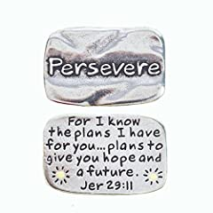 """100% Lead Free Pewter Great Gift Idea Pocket Reminder or Token 13/16"""" X 1 1/4"""" Handcrafted in the USA Jeremiah 29:11"""