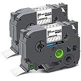 Unismar Compatible Label Tape Replacement for Brother P-Touch TZe-155 TZ155 TZe155 for PT-D600 PT-P700 PT-2430PC PT-D600VP PT-D800W PT-P900W PT-P950NW Label Maker, 1' x 26.2', White on Clear, 2-Pack