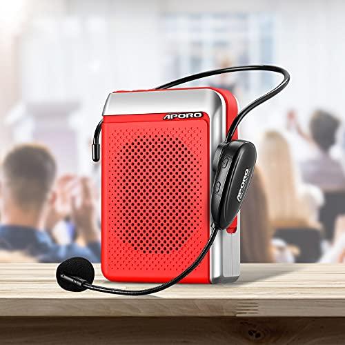 APROTII Amplificador de Voz Con Micrófono, Sistema de PA Recargable de 30 Vatos (2000 MAH), Bluetooth Amplificador Voz Ligero Para Profesores, Guía Turístico Y Más (Inalámbrico)