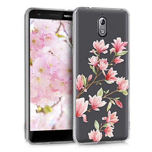 kwmobile Nokia 3.1 (2018) Hülle - Handyhülle für Nokia 3.1 (2018) - Handy Case in Magnolien Design Rosa Weiß Transparent