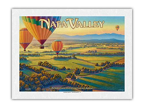 Vignobles de Napa Vally por globo aerostático – Côte Norte AVA – Art de País del Vino de California de Kerne Erickson – Papel de arroz con impresión artística 43 x 56 cm