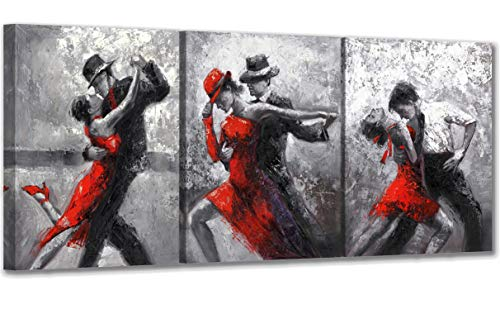 Abstract Dancing Paintings for Bedroom Wall Decorations Framed Tango Black and White Canvas Wall Art with Hook Ready to Hang 3 Panels Dancer in Red and Black Suits Wall Art For Kitchen 12×16inch