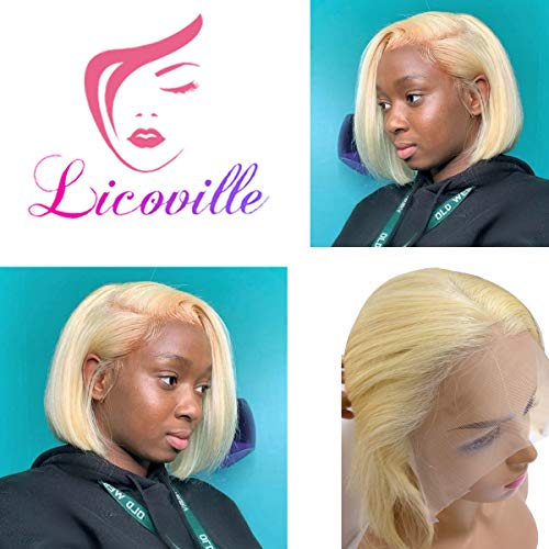 613 Lace Frontal Bob Blonde Human Hair Wig 180% Density 8 Inch Short Bob Cut Lace Front Wigs Straight Brazilian Glueless Wig Pre Plucked Bleached Knots, Can be Styled