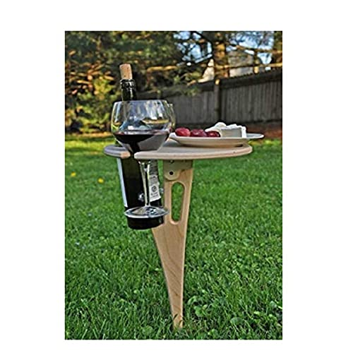 Folding Wine Table, Outdoor Wine Table, Portable Beer Table, Mini Wooden Picnic Table, Foldable Round Desktop for Backyard Entertainment, Beach Camping, Concert Cocktail, Garden party, Easy to Carry