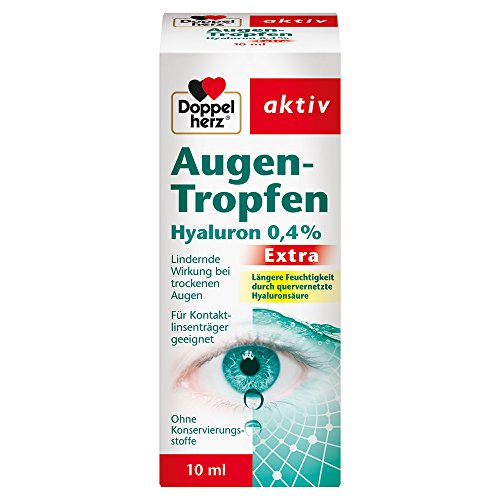 Doppelherz Augen-Tropfen Extra Hyaluron 0,4 % / Feuchtigkeitsspendende Augentropfen mit lindernder Wirkung bei trockenen & gereizten Augen / 1 x 10 ml