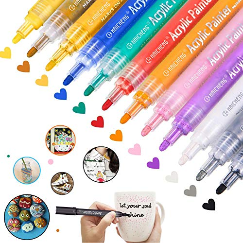 12 Colors Acrylic Paint Markers Paint Pens for Rocks, Wood, Metal, Glass, Plastic, Canvas, Ceramic, Photo Album, DIY Craft and School Project Works on Almost All Surfaces