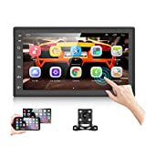 Podofo Android Car Stereo Double Din with GPS Navigation 6.8 Inch Touch Screen Car Multimedia Player Bluetooth FM Dual USB WiFi Support Mirror Link + Backup Camera