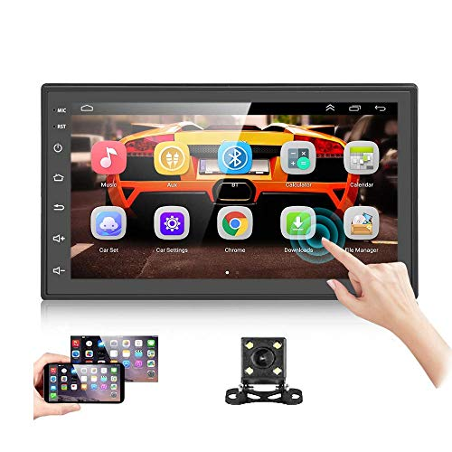 Podofo Android Car Stereo Double Din with GPS Navigation 7 Inch Touch Screen Car Multimedia Player Bluetooth FM Dual USB WiFi Support Mirror Link + Backup Camera