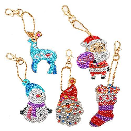 EIYUN Set of 5 Crystal Christmas Key Chain for Women,Purse Charms for Handbags Rhinestone Pendant Gift