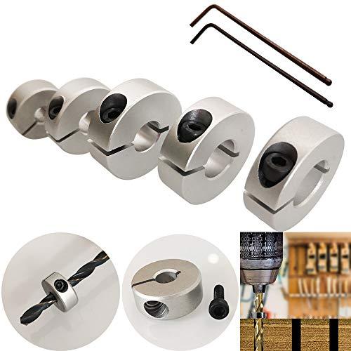 CESFONJER 5 tlg Aluminiumlegierung Tiefenanschlagringe Set Stellungsregler Ring Positionierer HSS-Locator Tiefenbegrenzer Tiefenstop Dübeln 6mm/8mm/10mm/12mm/14mm