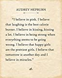 Canvas - Audrey Hepburn - I Believe In Pink - Choose Unframed Poster or Canvas - Great inspirational and Motivational Gift and Decor Under $30