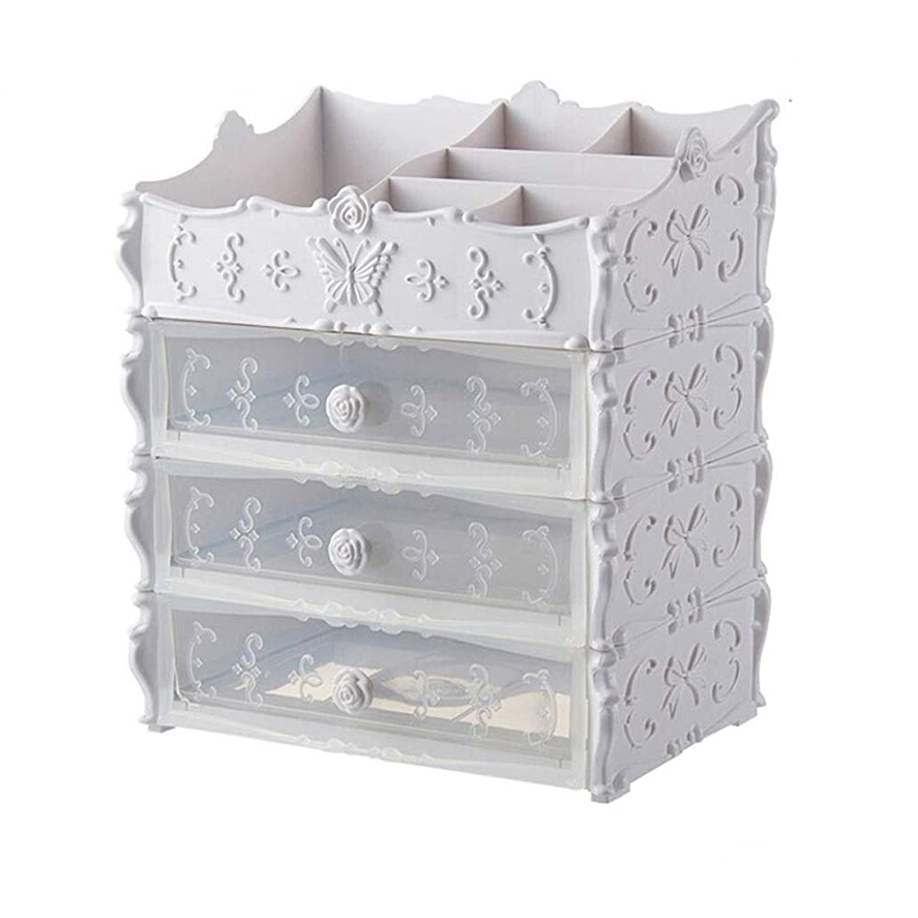 悪い東ティモールフレッシュ透明引き出しプラスチックラック、ヨーロッパ化粧品収納ボックス、ファッションクリエイティブプリンセスルーム専用収納ラック(カラー:ピンク、ホワイト) (Color : White)
