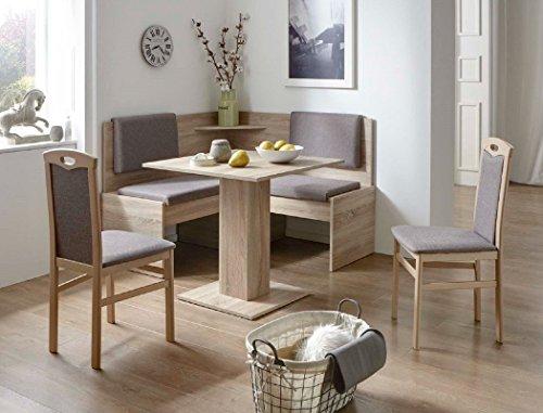 expendio Eckbankgruppe Jada Buche Sonoma grau-braun 2X Stuhl Tisch Eckbank Essgruppe kompakt Bank Säulentisch Esszimmer