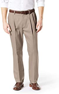 Men's Big and Tall Classic Fit Signature Khaki Lux Cotton Stretch Pleated Pants