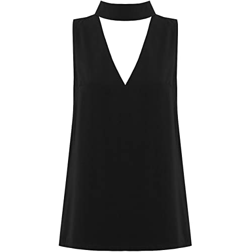 The Celebrity Fashion Womens Collar High Neck Blouse Shirt Plunge V Choker  Neck Top 8ad919829