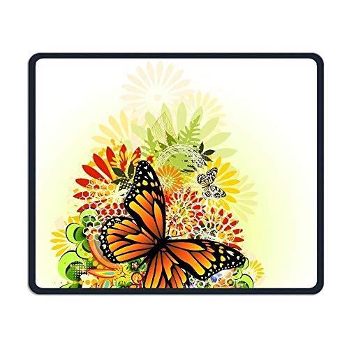 Mousepads wünschen genähte Ränder, Gelbe Farbe Schmetterlings-BlumenAnti-Beleg Einzigartige Entwürfe Spiel-Mausunterlage Schwarzes Tuch-Rechteck Mousepad Kunst-Naturkautschuk Mauspad