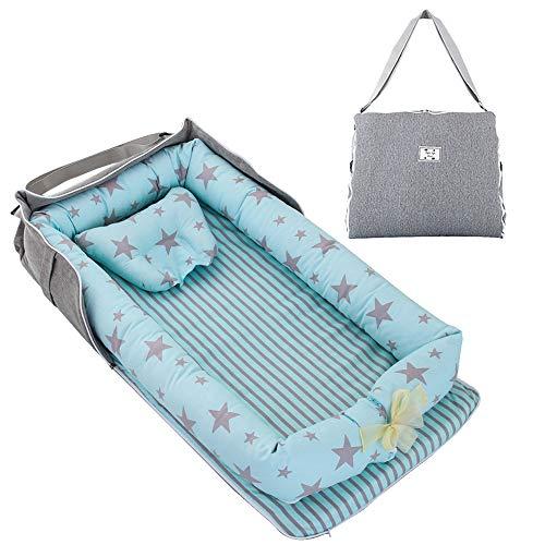 TEALP Tumbona para bebé con Almohadas, Nido Transpirable para Bebé Recién Nacido para Cosleeping, Capazo de Bebé, estrella azul