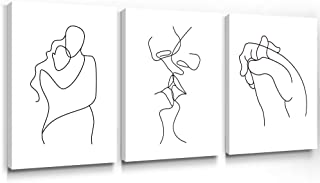 Gronda Wall Art for Bedroom Minimalist Black and White Canvas Paintings Home Decor Framed Lovers Prints Artwork Pictures f...