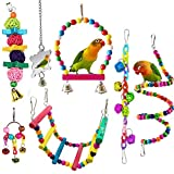 <span class='highlight'><span class='highlight'>ESRISE</span></span> 7 Pcs Bird Parrot Toys, Hanging Bell Pet Bird Cage Hammock Swing Climbing Ladders Toy Wooden Perch Mirror Chewing Toy for Conures, Love Birds, Small Parakeets Cockatiels, Macaws (Muliti-B)