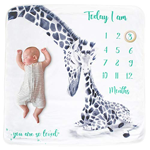 Eco Baby Planet™ Baby Luxury Milestone Blanket Girl & Boy - Includes Milestone Cards & Wooden Ring Marker - Monthly Fleece Blanket, Eco-Friendly Teether Marker, Card Set