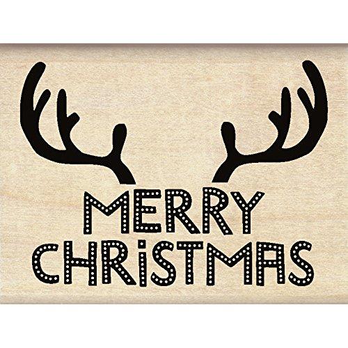 Inkadinkado Reindeer Antlers Christmas Mounted Rubber Stamp, 3' by 2.25'