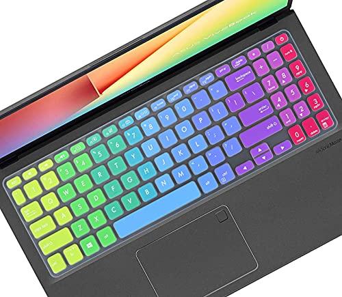 Keyboard Cover Skin for ASUS VivoBook 15 S15 F515 S530FA S530UA S530UN 15.6', ASUS VivoBook F512 F512DA F512FA F512JA, Vivobook X512 X512DA X512FA X509 X509FA Laptop Keyboard Protector-Rainbow