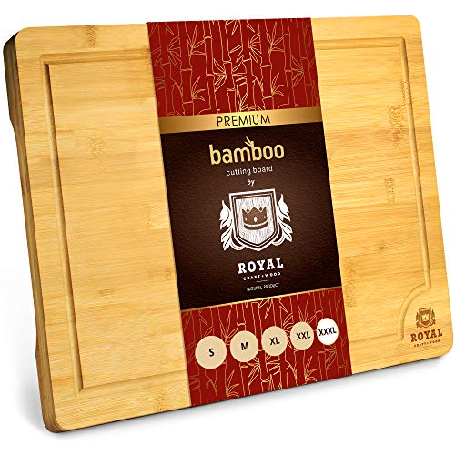 """XXXL Bamboo Cutting Board for Kitchen 24"""" x 18"""" - Cheese and Charcuterie Serving Tray for Meat, Turkey, Vegetables, Dough - Carving Board with Juice Groove"""
