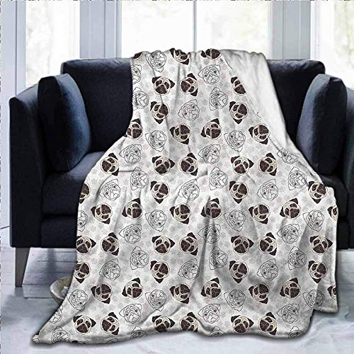 KENDIA Flannel Ultra-Soft Blanket Decorative Soft Warm Cozy Plush Dog, Pug Portraits Traces, for Kids Baby Toddler Dog Cat