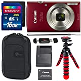 Canon PowerShot ELPH 180 Digital Camera with is and Smart AUTO Mode (RED), Transcend 16GB, Camera Case and Premium Accessory Bundle