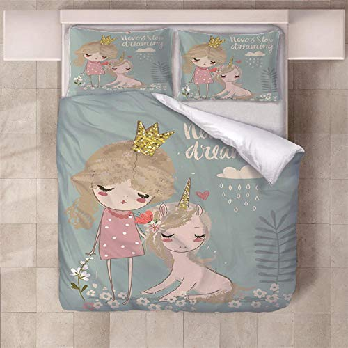 NHBTGH Duvet Cover Set 55.12x86.61 inch Girl Unicorn 1 Quilt Cover +2 Pillow Cases (2x19.69x29.53 inch) Easy Care Polyester Bedding Bedroom Set with Zipper Closure - Pink